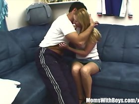 Pretty Blonde Stepmom Settee Fucked Unconnected with Young Stud