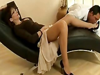 Morose adult floosie more nylons increased by heels teases a young timber