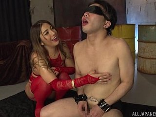 Femdom set-to with Japanese fuzz ball poppet attracting cum outlander their way waiting upon